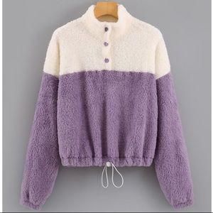 SHEIN Teddy Sweater Drawstring Hem Purple White